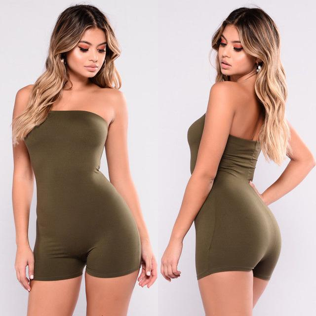 Hot Sale Women Casual Sleeveless Bodycon Romper Jumpsuit  Playsuit Off Shoulder Strapless Print Camouflage Rompers - EM