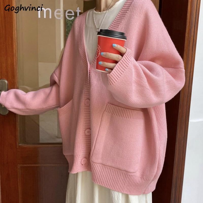 Sweater Solid Women Pockets Cardigans Sweet Girls Daily Outwear Kawaii Womens Loose Knitted Chic Korean Style All-match Jumper - Express Monde