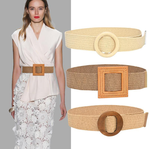 Belt Female Cool Ins Decoration Non-porous Waist Seal Wild Wooden Buckle Elastic Belt Elastic PP Grass Raffia Woven Wide Belt