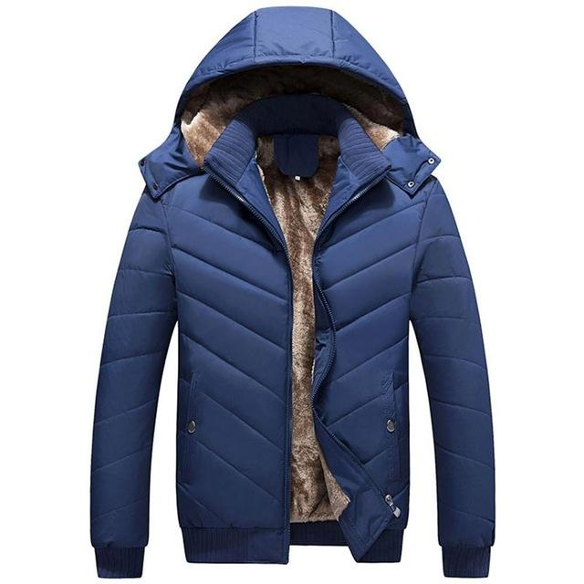 Winter parkas Men 2018 Fashion hooded Collar Male Parka Jacket Mens Solid Thick Plush Jackets and Coats Man outwear overcoat - EM