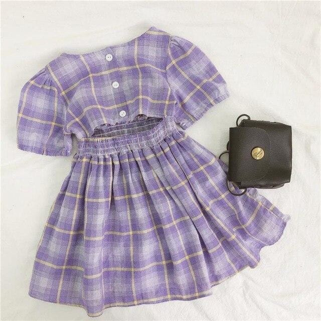 3533 New Summer Girl's Party Dress Open Back Short Sleeve Purple Dress Children's Beach Holiday Plaid Printed Clothes 80-120cm