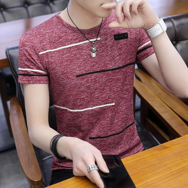 Hot O Neck Mens Tee Short Sleeve T-Shirt Men Polyester Mens T Shirts Summer Cool Tee Male Slim Casual Boys Tee Shirt Homme 4XL - EM