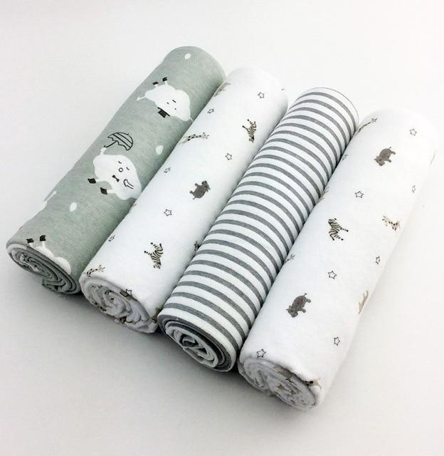 4pcs/lot newborn baby bed sheet bedding set 76x76cm for newborn crib sheets cot linen 100% cotton Flannel printing baby blanket - EM