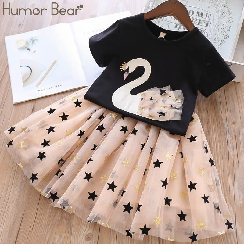 Humor Bear Girls Clothes Sets Children Clothing Brand Summer Fashion Students T-Shirt + Star Dress 2Pcs Suit Baby Kids Clothes