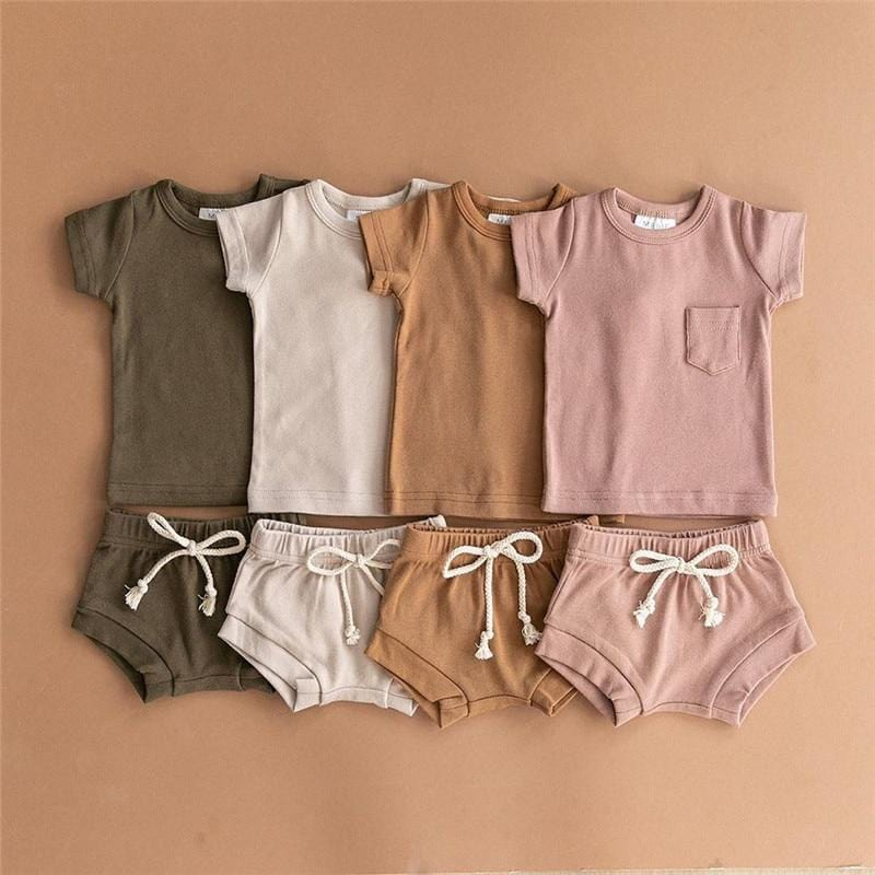 2020 Summer Toddler Baby Boys Girls Suits Cotton Kids Outfits Children Girl Clothing Set Newborn T-shirts Tops+Shorts Tracksuits