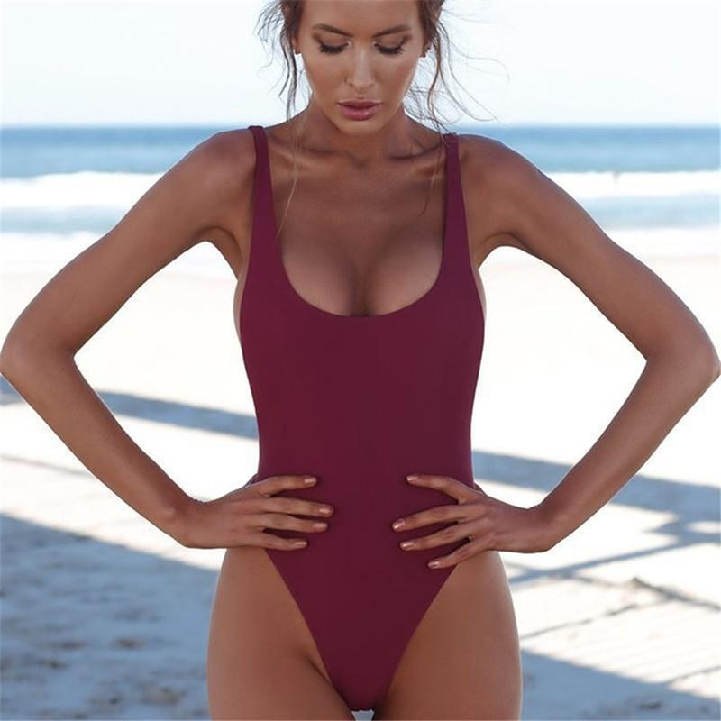 2020 One-Piece Swimsuit Women Summer New Sexy Swimwear Ladies Backless Sexy Sports Solid Color Slim - EM