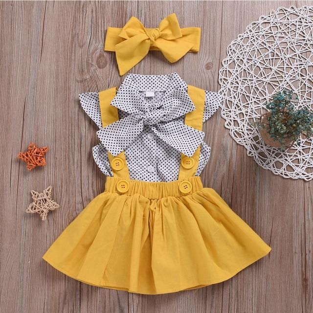 HE Hello Enjoy Baby Girls Clothes Sets 2020 Summer Dot Flying Sleeve Shirt+Strap Dresses+Headband Kids Children's Clothing Suit