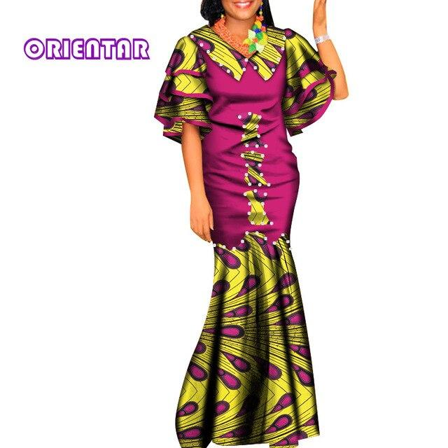 African Dresses for Women Africa Bazin Riche Casual V-neck Robe Africaine Evening Party Ankara Dresses African Clothes WY6838 - EM