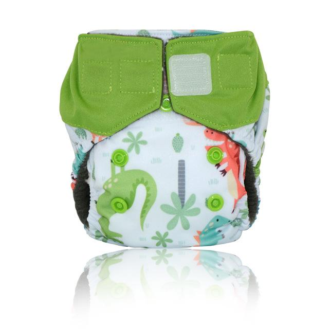 Miababy newborn Charcoal Bamboo AIO cloth diaper,double leaking guards, fits 0-3months baby or 6-19 lbs, washable and reusable - EM
