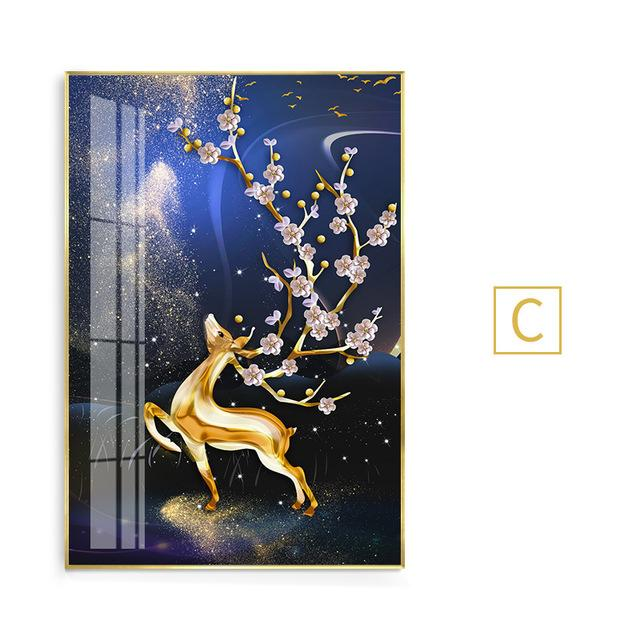 Abstract Gold Deer Peach blossom Tree Canvas Art Modern Tableaux Cuadros Big Wall Art Picture for Living Room Poster HD Print