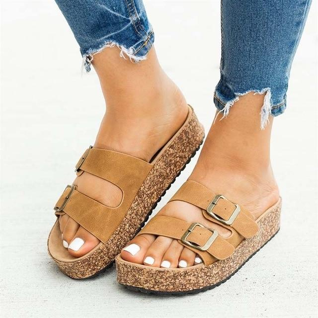 Women Sandals 2020 Fashion Summer Shoes Women Flat Sandals Plus Size 43 Low Heels Sandalias Mujer Soft Flats Beach Shoes Female - EM
