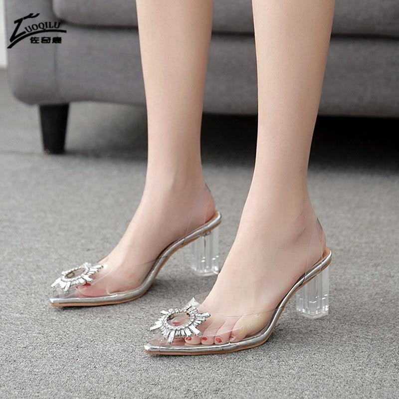 2020 Ladies sandals rhinestone clear heels women shoes pumps high heels wedding shoes transparent heels for women - EM