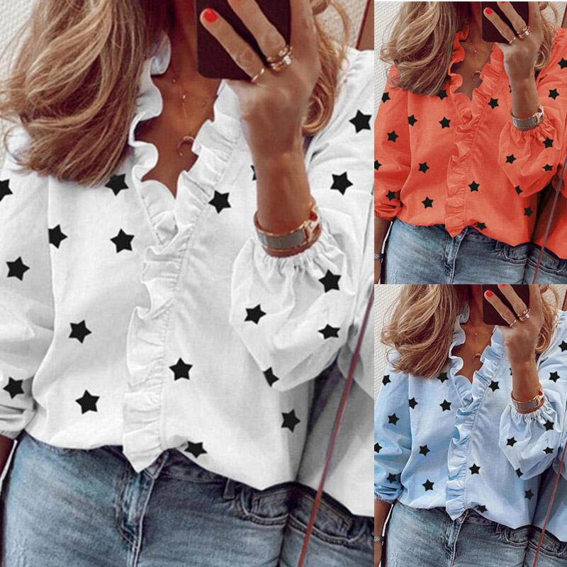 Women Ruffle Stars Print Blouse V-Neck Long Sleeve Elegant Slim Female Blouses 2020 Fashion Summer Sexy Lady Tops Plus Size 3XL - EM