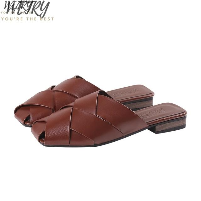 IN 2020 Ladies's Summer Square Head Mules Female's Leather Flat Bottom Leisure Beach Sandals Women's Fashion Chain - EM