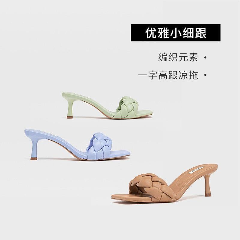 2020 New Shoes Fine Woven Liner to Receive High-Heeled Sandals nv wang Red High Heels Female - EM