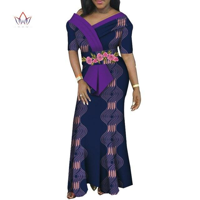 African Dresses For Women V-neck Africa Clothing Long Dress High Quality Short Sleeve Fashion African Dress For Lady WY6006 - EM