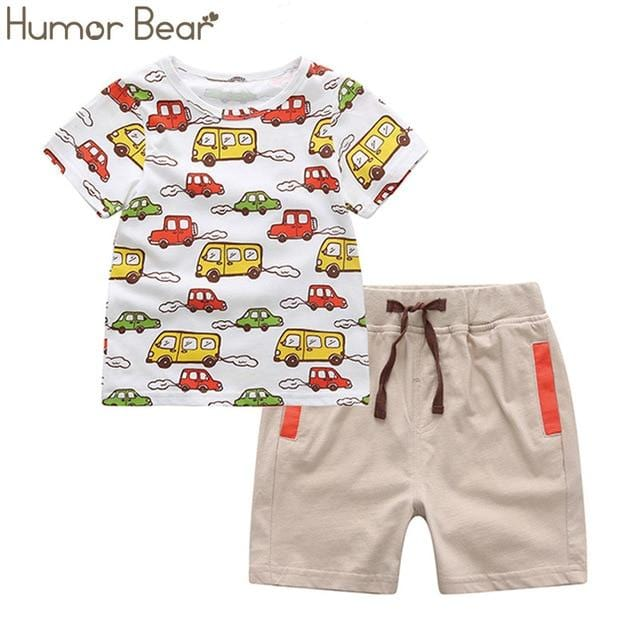 Humor Bear Boys Clothing Set Baby Boy Clothes New Summer Kids Clothing Sets Stripe Colorful T-Shirt + Pants 2Pcs Boys Suit