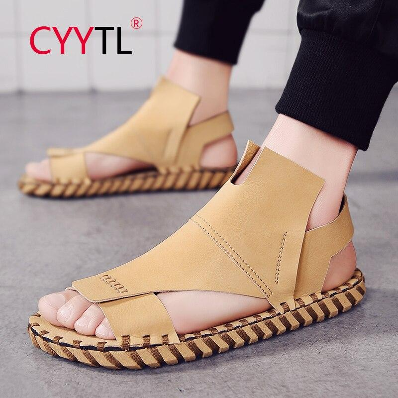 CYYTL Men Fashion Beach Sandals Summer Leather Open Toe Shoes Platform Non-slip Slippers Hand Stiching Hommes Sapatos Masculino - EM