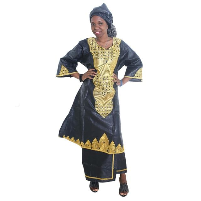 MD Women Dress Bazin Riche Clothing Embroidery Dress With Skirt Suit South Africa Traditional Clothes Nigerian Sego Headtie - EM