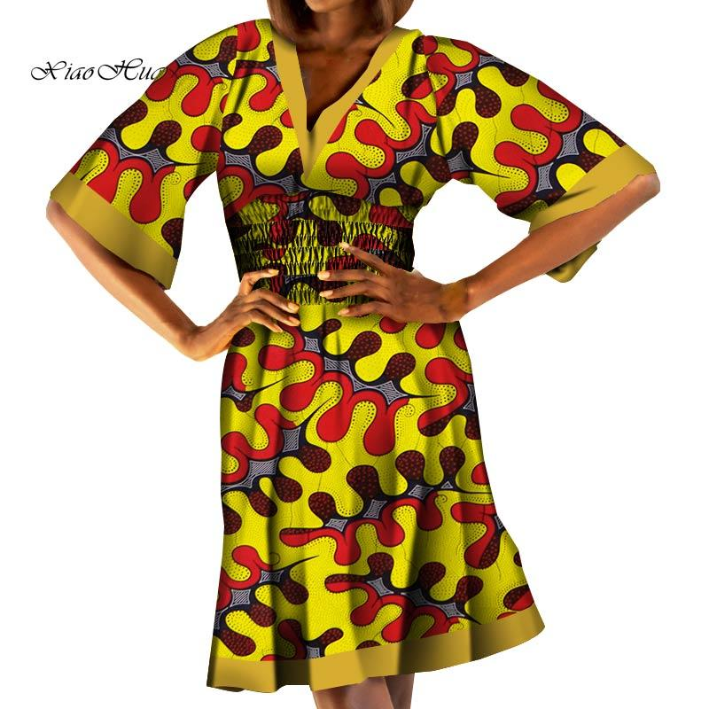 Casual African Dresses for Women Fashion African Wax Print V-neck Dress Elastic Waist Ankara Dress Africa Clothing WY7408 - EM