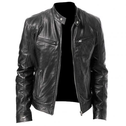 Autumn Winter  Leather Jackets Men Autumn Solid Stand Collar Fashion куртка мужская Men Jacket