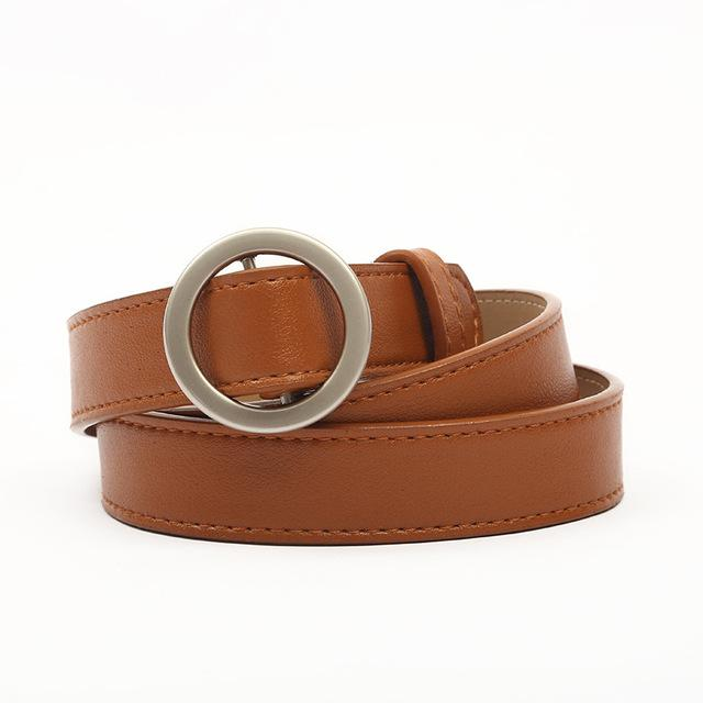 HONGYI Women's PU Leather Fashion Retro Belt High Quality Luxury Brand Ladies Metal Black Buckle New Belt with Jeans
