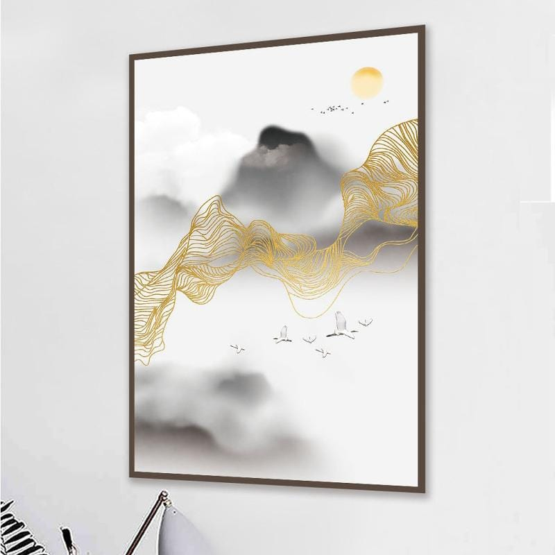 Abstract Golden Sun Psychedelic Line Canvas Painting Poster Tableaux Unique Decor Wall Art Pictures for Living Room Bedroom 3-16