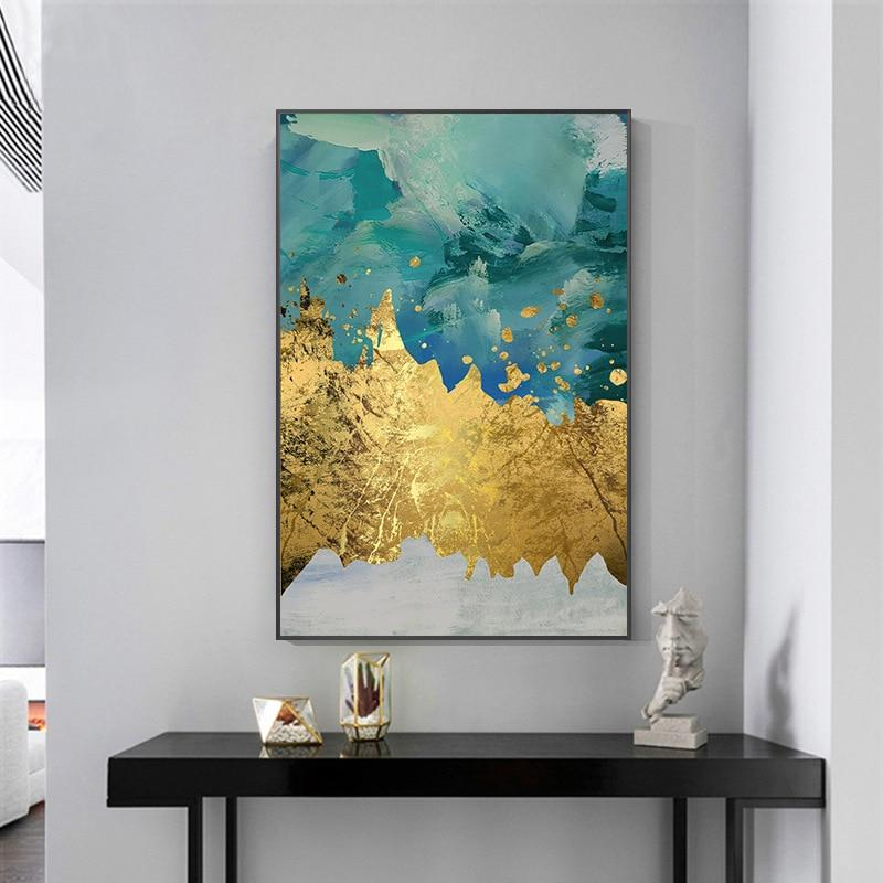 Abstract Gold Foil Block Painting green Poster Print Modern Golden Wall Art Picture for Living Room Navy Decor Big Size Tableaux