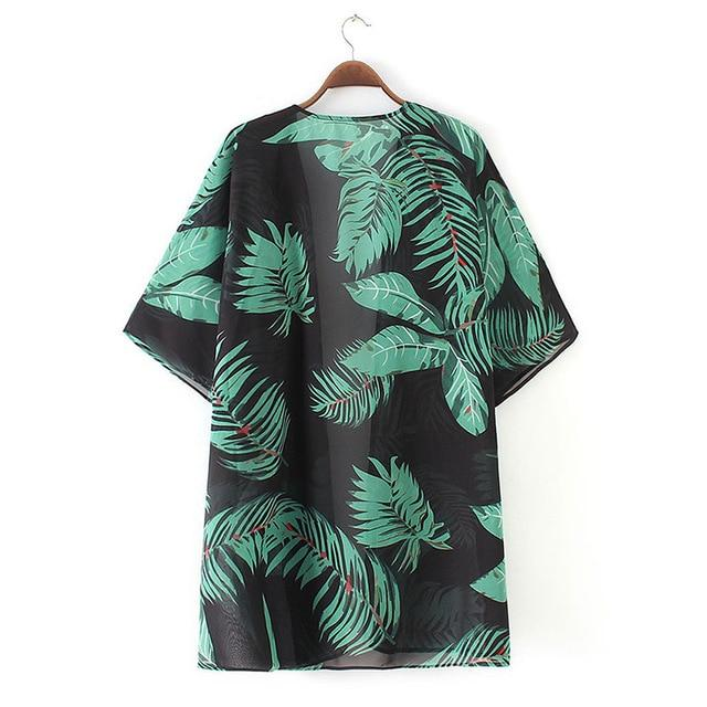 Summer Women Tops Sexy Fashion Print Three Quarter Sleeve Kimono Beachwear Boho Sunscreen Female Clothing Cardigan - EM