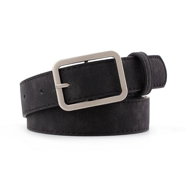 2020 2.8cm Wide Leather Waist Strap Belt Black Brown high quality Women Square Metal Buckle belts Ladies Female Belts for Jeans - EM