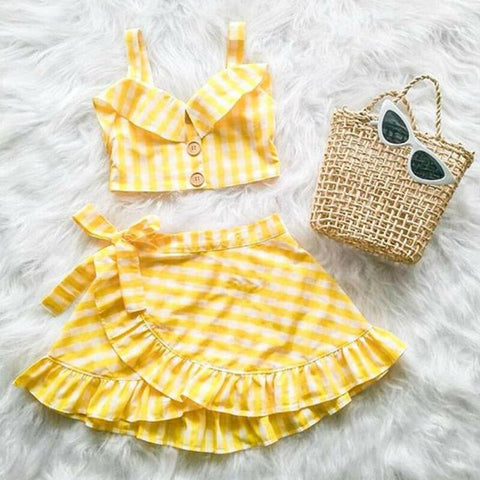 Baby Summer Clothing Toddler Kid Baby Girl Plaid Clothes Vest Crop Top Off Shoulder Shirt + Irregular Skirt 2Pcs Outfit Set