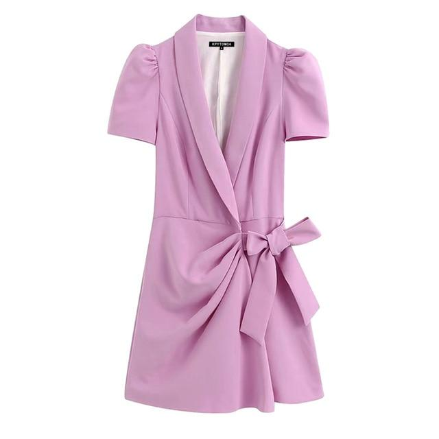 KPYTOMOA Women 2020 Chic Fashion Office Wear Blazer-Style Playsuit Vintage Crossover V Neck Puff Sleeve Bow Tied Female Jumpsuit - EM