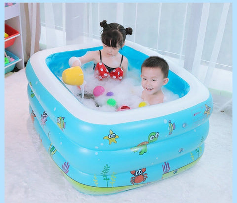 #H30 family inflatable pool above ground swimming pool kid children blue garden outdoor play pool cover piscine gonflable - Express Monde
