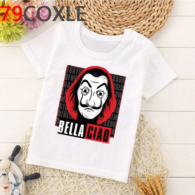 Funny La Casa De Papel T Shirt Kids Summer Top Cartoon Money Heist Tshirt Bella Ciao Kawaii House of Paper Boys T-shirt Children