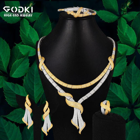 GODKI Bow Ribbon 4Pcs African Jewelry Sets for Women Wedding Luxury Naija Dubai Jewelry Set Cubic Zirconia Bridal Jewelry Sets