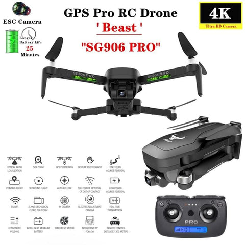 Beast SG906PRO GPS Drone 4K ESC Camera with Two-axis anti-shake Self-stabilizing gimbal Professional Brushless Quadcopter SG906 - Express Monde