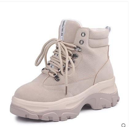New  2019 Autumn And Winter Leather British Wind Sneaker Flat Short Boots Students  Leather Platform Plush High  Shoes - Express Monde