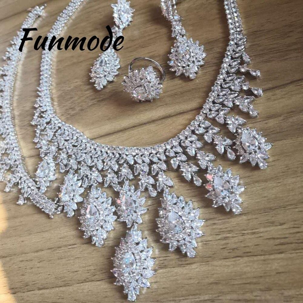 Funmode Luxury Bridal Wedding Jewelry Sets AAA CZ Classic Design Women 4pc Set Engagement Ceremony Bijoux Femme F011K