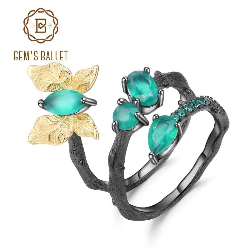 GEM'S BALLET Original Handmade 925 Sterling Silver Vintage Rings Natural Green Agate Butterfly Ring for Women Bijoux Jewelry