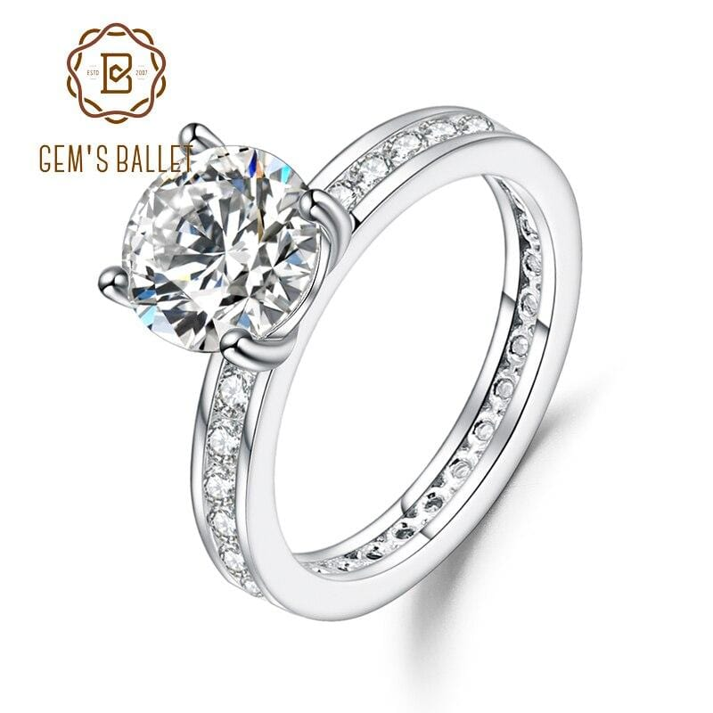 GEM'S BALLET GEM'S BALLET 925 Sterling Silver 2.00Ct 8mm EF Color Moissanite Wedding Engagement Rings For Women Jewelry Bijoux
