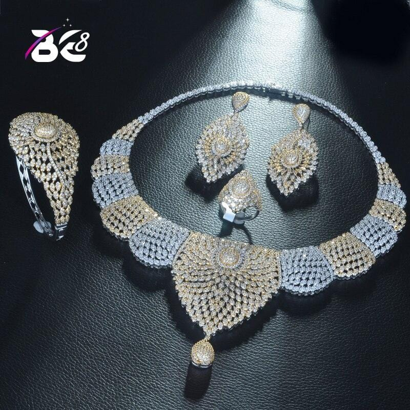 Be 8 Luxury Design Necklace Pendant 2 Tones Jewelry Set Women Fashion for Bridal Party Accessories Jewelry Gift Bijoux FemmeS332