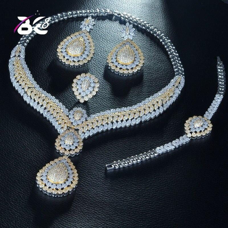 Be 8 Brilliant AAA CZ 2 Tones Jewelry Sets Bridal Wedding 4 Pcs Earring Necklace Sets for Women Gift Parure Bijoux Femme S260