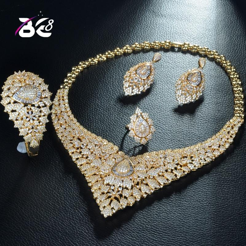 Be 8  Flower Design Bridal Jewelry Wedding Accessories Set Shinning AAA Cubic Zinconia Jewelry Set for Women Bijoux Femme S282