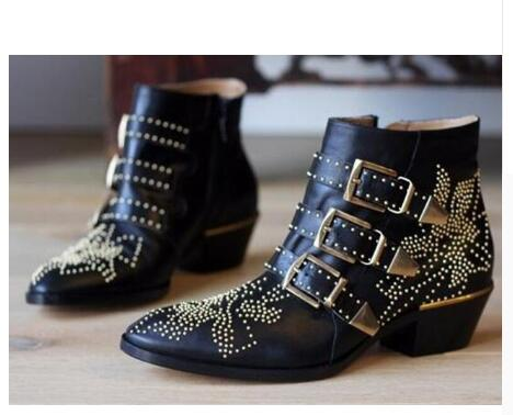 2020 Cowgirl Susanna Studded Leather Ankle Boots Women Round Toe Rivet Flower Martin Boots Women Luxury Boots Bottes Femme
