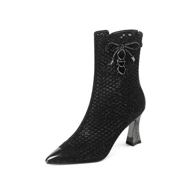 2020 New Arrivals crystal cut-outs Ankle Boots Women Summer Boots Sexy high heels Female Ladies Party shoes Bottes