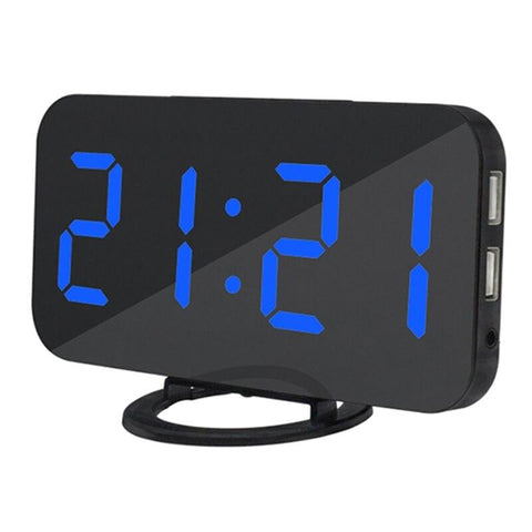 Digital Alarm Clock,6.5 Inch LED Display with USB Charger Ports,Auto Dimmer Mode Easy Snooze Function,Modern Mirror Desk Wall Cl