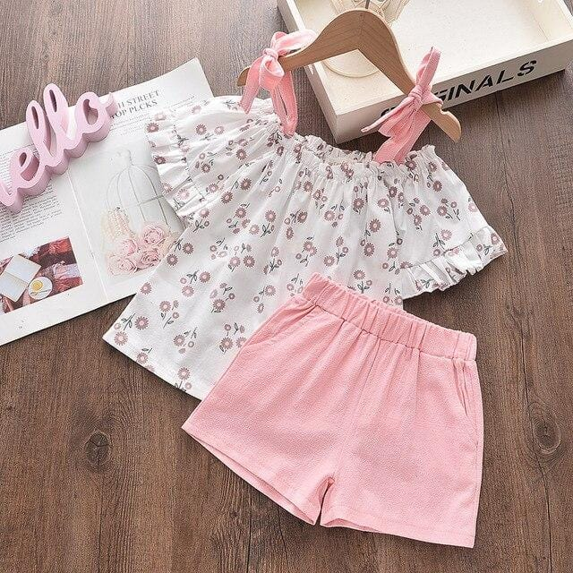 Bear Leader Children's Clothing Fashion New Summer Girls Floral Clothing Sets Flowers T-Shirt and Pants Lovely Kids Girl Outfits