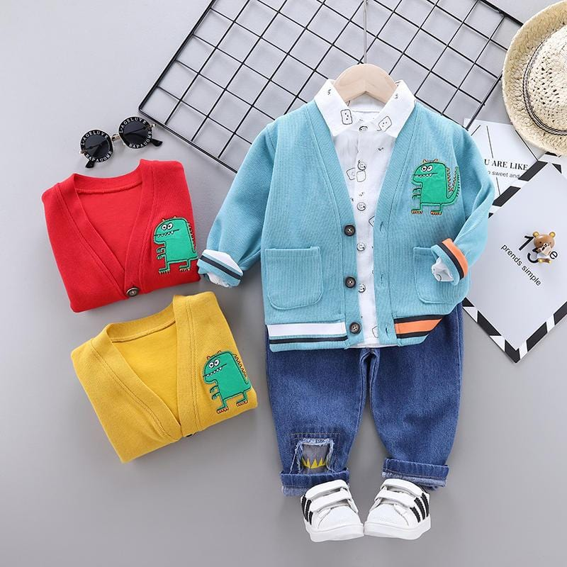 Children Fashion Clothes Suit Spring Autumn Kids Boys Girls jacket shirt Pants 3Pcs/sets Baby Toddler Clothing Infant Sportswear