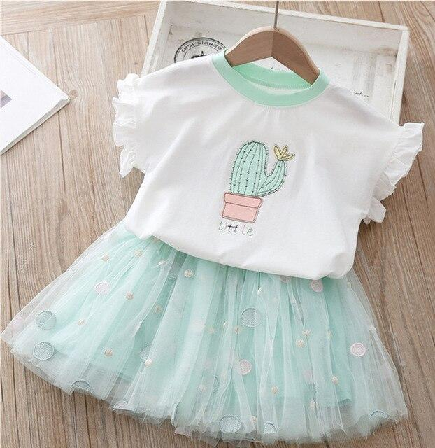 2020 New Girl's Clothes Summer Kids Swan Strapless T-shirt+Lace Dress Sets Casual Summer Girls Set Children Clothing