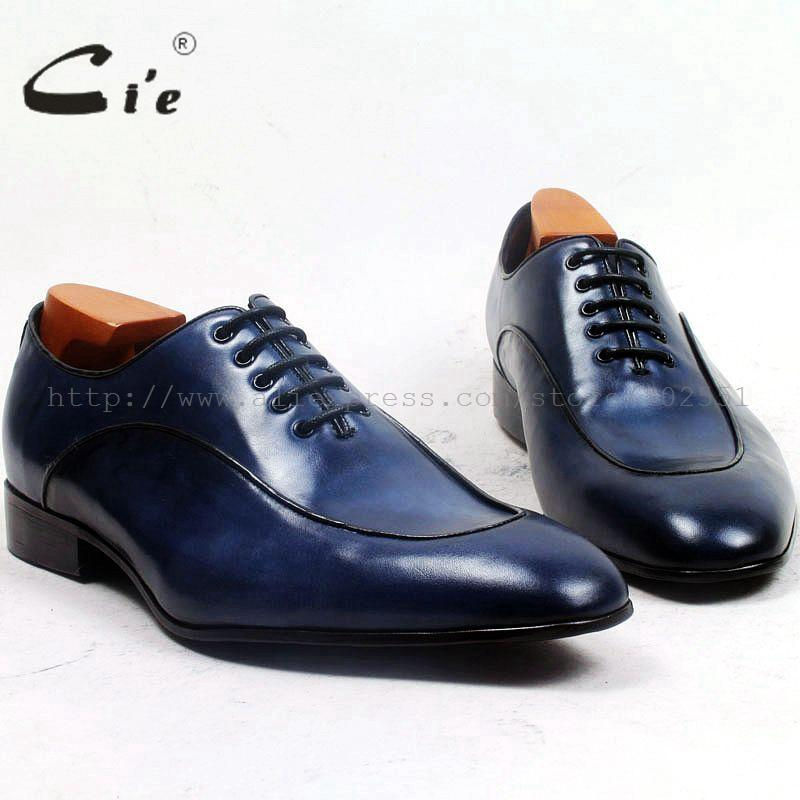 cie round plain toe patina blue lacing lightweight  leather outsole breathable 100%genuine calf leather bespoke men shoe ox501